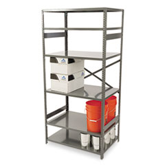 Tennsco Commercial Steel Shelving, Six-Shelf, 36w x 24d x 75h, Medium Gray