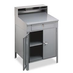 Tennsco Steel Cabinet Shop Desk, 36w x 30d x 53.75h, Medium Gray