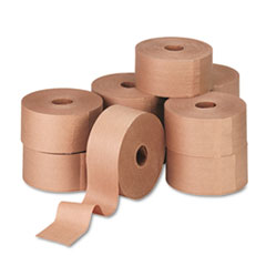 "Glass-Fiber Reinforced Gummed Kraft Sealing Tape, 3"" Core, 3"" x 450 ft, Brown, 10/Carton"