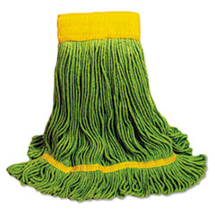 Boardwalk® EcoMop Looped-End Mop Head, Recycled Fibers, Medium Size, Green