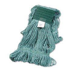 "Boardwalk® Super Loop Wet Mop Head, Cotton/Synthetic Fiber, 5"" Headband, Medium Size, Green, 12/Carton"