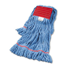 "Boardwalk® Super Loop Wet Mop Head, Cotton/Synthetic Fiber, 5"" Headband, Large Size, Blue"