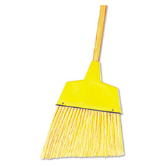 "Boardwalk® Angler Broom, Plastic Bristles, 53"" Wood Handle, Yellow"