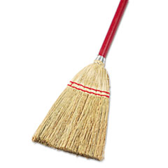 "Boardwalk® Lobby/Toy Broom, Corn Fiber Bristles, 39"" Wood Handle, Red/Yellow BWK951TEA"