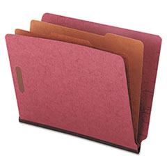 Universal® Red Pressboard End Tab Classification Folders