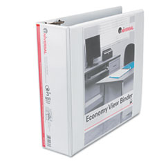 "Economy D-Ring Vinyl View Binder, 3"" Capacity, White"