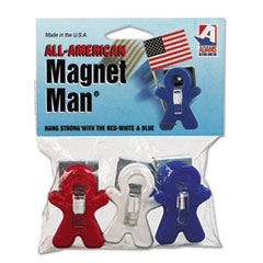 """Adams Manufacturing All American Magnet Man, 0.25"""", Assorted Colors, 3/Pack"""