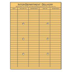 String & Button Interoffice Envelope, #97, Two-Sided Five-Column Format, 10 x 13, Light Brown Kraft, 100/Box
