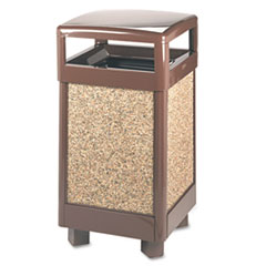 Rubbermaid® Commercial Aspen Series Hinge Top Receptacle, Square, Steel, 29 gal, Brown