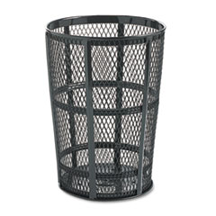 Rubbermaid® Commercial Steel Street Basket Waste Receptacle, Round, Steel, 45 gal, Black