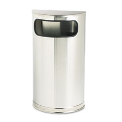 Rubbermaid® Commercial European and Metallic Series Receptacle, Half-Round, 9 gal, Satin Stainless