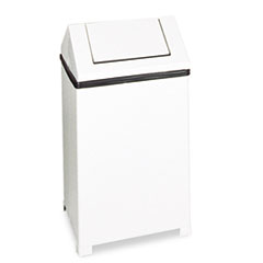 Rubbermaid® Commercial Fire-Safe Swing Top Receptacle, Square, Steel, 14gal, White RCPT1414ERBWH