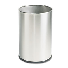 Rubbermaid® Commercial European and Metallic Series Wastebasket, Round, 5 gal, Satin Stainless