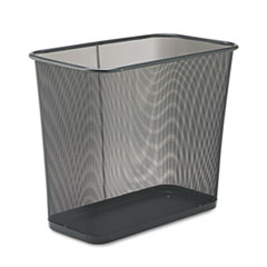 Rubbermaid® Commercial Steel Mesh Wastebasket, Rectangular, 7.5 gal, Black