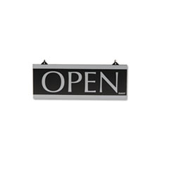 Headline® Sign Century Series Reversible Open/Closed Sign, w/Suction Mount, 13 x 5, Black