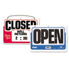 Headline® Sign Double-Sided Open/Closed Sign w/Dial-A-Time Will Return Clock, Plastic, 11 x 8