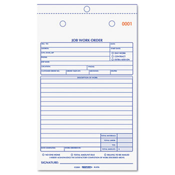 job work order book 5 12 x 8 12 two part carbonless 50book