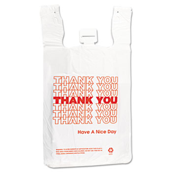 T-Shirt Thank You Bag, 12 x 7 x 23, 14 Microns, White, 500/Carton