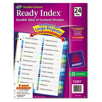 Ready Index Customizable Table Of Contents Double Column Dividers By