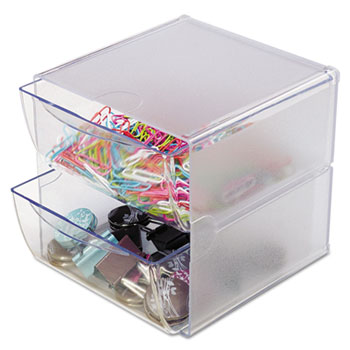 Stackable Cube Organizer, 2 Drawers, 6 x 7 1/8 x 6, Clear