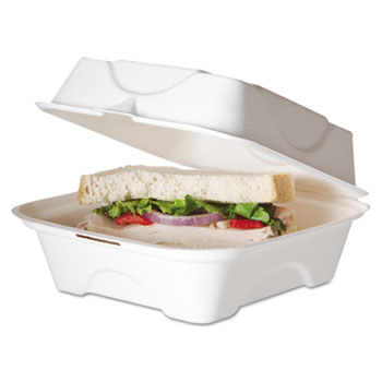 Eco-Products® Bagasse Hinged Clamshell Containers Thumbnail