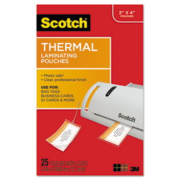 Luggage tag size thermal laminating pouches by scotch mmmtp585325 luggage tag size thermal laminating pouches 5 mil 4 15 x 2 12 25pack reheart Image collections