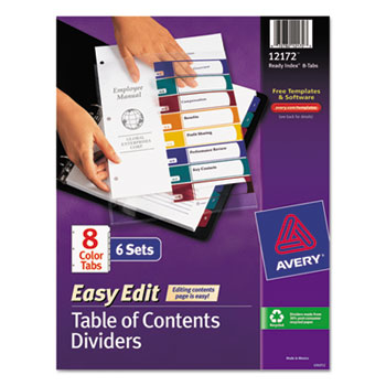 Avery® Ready Index® Customizable Easy Edit Table of Contents Multicolor Dividers Thumbnail