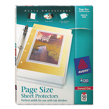 Avery® Page Size Heavyweight Three-Hole Punched Diamond Clear Sheet Protector Thumbnail