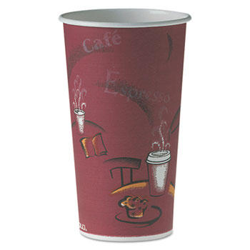 Dart® Single-Sided Poly Paper Hot Cups in Bistro® Design Thumbnail