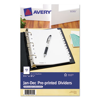 Preprinted Tab Dividers By Avery Ave11315 Ontimesupplies