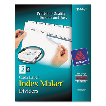 Print Apply Clear Label Dividers Wwhite Tabs By Avery Ave11446