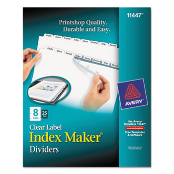 Print Apply Clear Label Dividers W White Tabs By Avery AVE11447