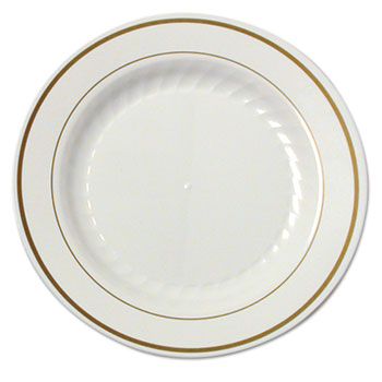 Masterpiece Plastic Plates 7 1/2 in Ivory w/Gold Accents Rnd 10/PK 15 PK/CT  sc 1 st  OnTimeSupplies.com & Masterpiece Plastic Plates by WNA WNAMP75IPREM - OnTimeSupplies.com