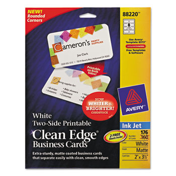 Avery rounded two sided clean edge business cards inkjet 2 x 3 12 avery avery rounded two sided clean edge business cards inkjet 2 x 3 12 white 160pack reheart Image collections