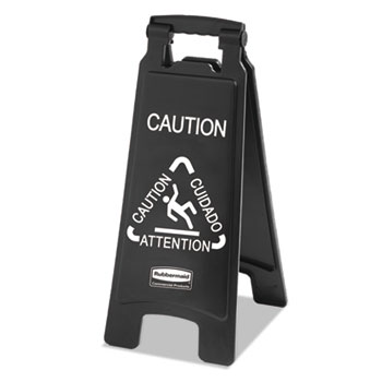 Rubbermaid® Commercial Executive 2-Sided Multi-Lingual Caution Sign Thumbnail