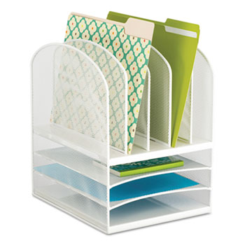 Onyx Mesh Desk Organizer Eight Sections 11 1 2 X 9 13 White