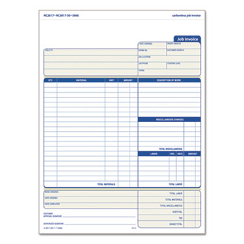 snap off job invoice form 8 1 2 x 11 5 8 three part carbonless 50 forms