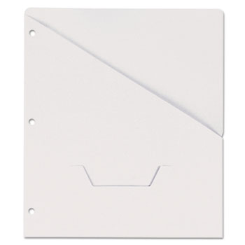 Slash-Cut Pockets for Three-Ring Binders, Jacket, Letter, 11 Pt., White, 10/Pack