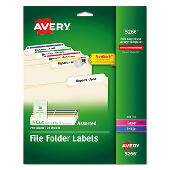 Avery® Permanent File Folder Labels with TrueBlock® Technology Thumbnail