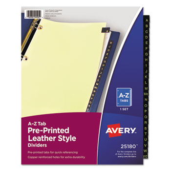 Avery® Preprinted Black Leather Tab Dividers with Copper Reinforced Holes Thumbnail