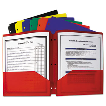 C-Line® Two-Pocket Heavyweight Poly Portfolio Folder with Three-Hole Punch Thumbnail