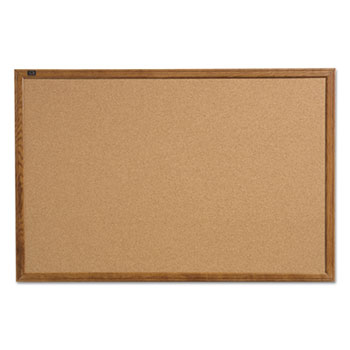 Quartet® Cork Bulletin Board with Oak Frame Thumbnail