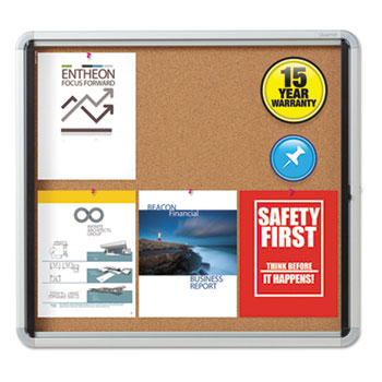 Quartet® Enclosed Indoor Cork Bulletin Board with Swing Door Thumbnail