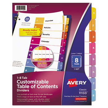 Avery® Ready Index® Customizable Table of Contents Multicolor Dividers Thumbnail