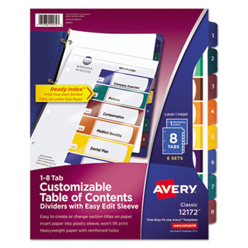 Ready Index Customizable Table Of Contents By Avery Ave12172