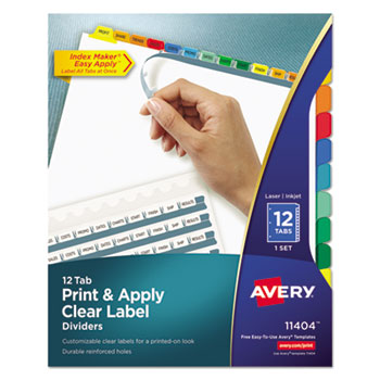 Index Maker Print & Apply Clear Label Dividers w/Color Tabs by Avery ...