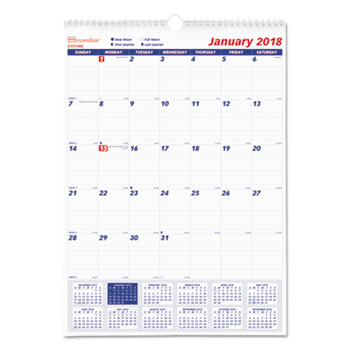 Brownline® Twin Wirebound Wall Calendar, One Month per Page Thumbnail