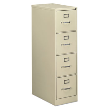 Four Drawer Economy Vertical File Cabinet, Letter, 15w X 25d X 52h, Putty