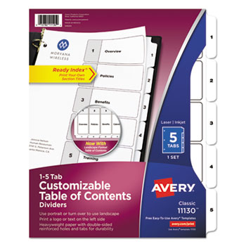 Avery® Ready Index® Customizable Table of Contents Black & White Dividers Thumbnail