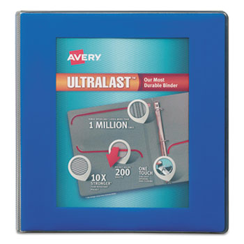 "UltraLast View Binder w/1-Touch Slant Rings, 11 x 8 1/2, 1"" Cap, Blue"